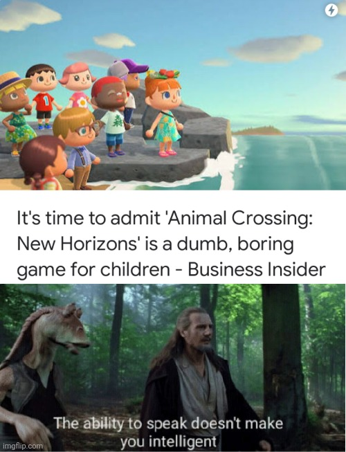S H U T | image tagged in star wars prequel qui-gon ability to speak,animal crossing | made w/ Imgflip meme maker