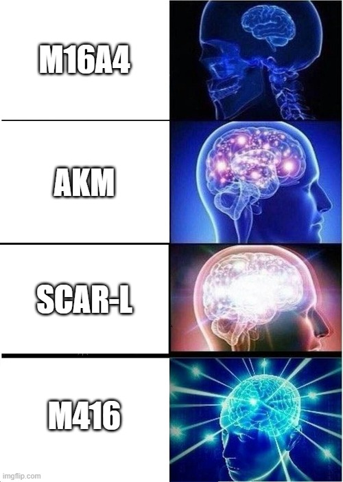 The types of guns |  M16A4; AKM; SCAR-L; M416 | image tagged in memes,expanding brain,pubg | made w/ Imgflip meme maker