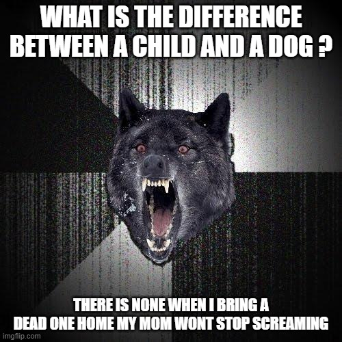 hmmm |  WHAT IS THE DIFFERENCE BETWEEN A CHILD AND A DOG ? THERE IS NONE WHEN I BRING A DEAD ONE HOME MY MOM WONT STOP SCREAMING | image tagged in memes,insanity wolf | made w/ Imgflip meme maker