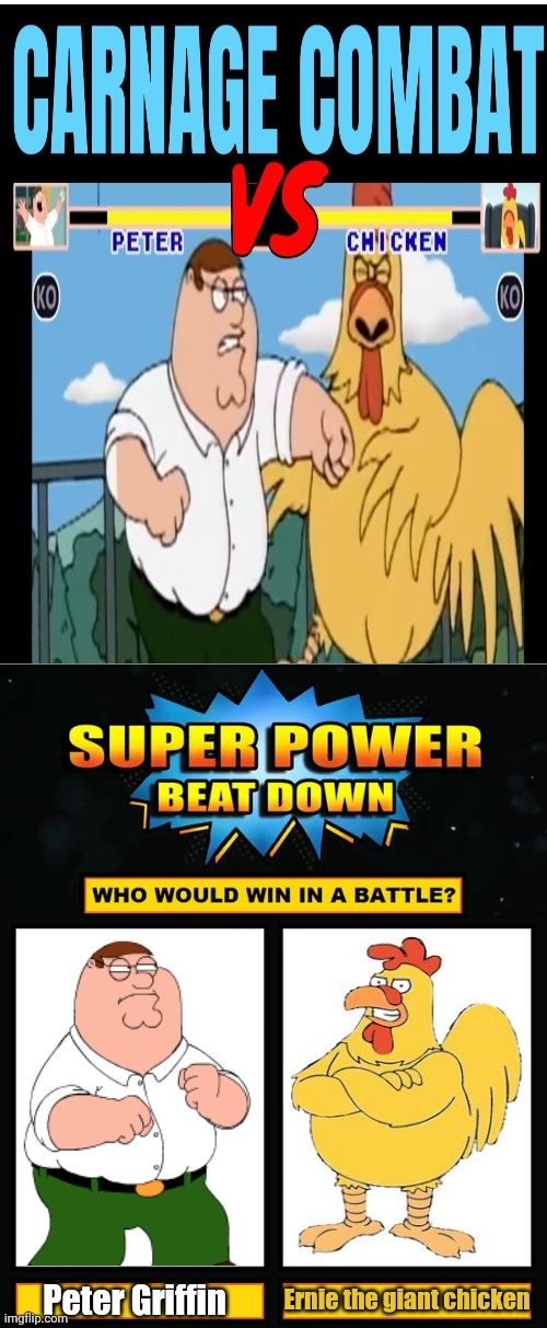 Peter Griffin vs Chicken; Who would win in a battle? |  Ernie the giant chicken; Peter Griffin | image tagged in super power beat down,funny,memes,meme,peter griffin,family guy | made w/ Imgflip meme maker