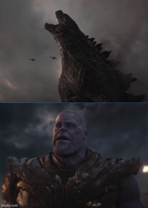 Godzilla scares Thanos | image tagged in godzilla,thanos,warner bros,marvel,2020,scared | made w/ Imgflip meme maker