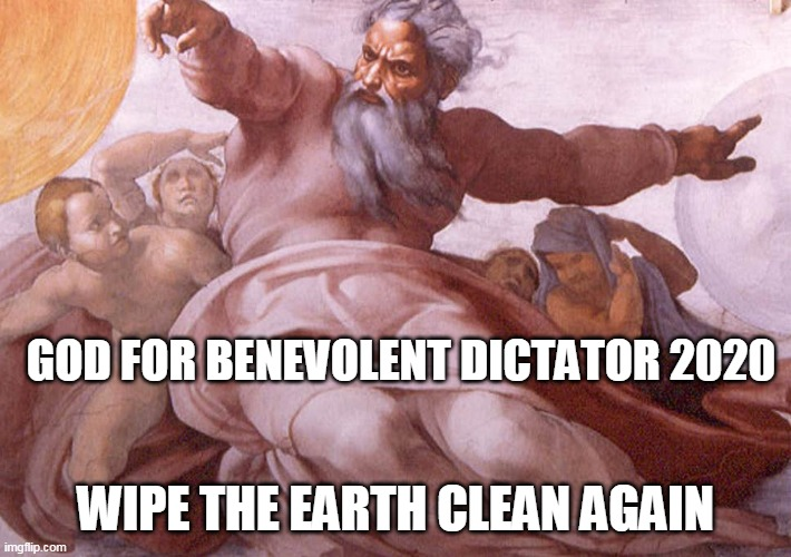 Our Only Hope |  GOD FOR BENEVOLENT DICTATOR 2020; WIPE THE EARTH CLEAN AGAIN | image tagged in god,dictator,earth,noah's ark,coronavirus,flood | made w/ Imgflip meme maker