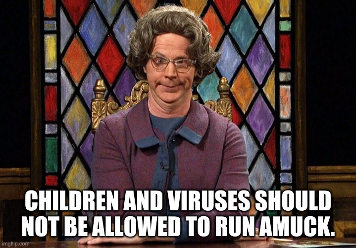 The Church Lady |  CHILDREN AND VIRUSES SHOULD NOT BE ALLOWED TO RUN AMUCK. | image tagged in the church lady | made w/ Imgflip meme maker