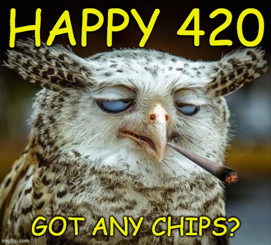 Happy 420 |  HAPPY 420; GOT ANY CHIPS? | image tagged in weed,420,high,pot,buzzed | made w/ Imgflip meme maker