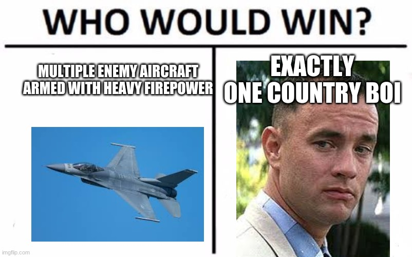 Who Would Win? |  EXACTLY ONE COUNTRY BOI; MULTIPLE ENEMY AIRCRAFT ARMED WITH HEAVY FIREPOWER | image tagged in memes,who would win | made w/ Imgflip meme maker