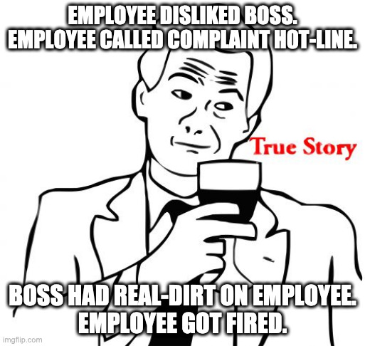 True Story |  EMPLOYEE DISLIKED BOSS. EMPLOYEE CALLED COMPLAINT H0T-LINE. BOSS HAD REAL-DIRT ON EMPLOYEE. EMPLOYEE GOT FIRED. | image tagged in memes,true story | made w/ Imgflip meme maker