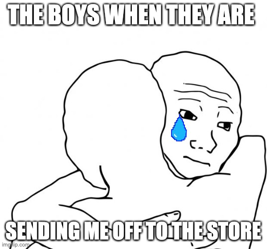 Good luck soldier! |  THE BOYS WHEN THEY ARE; SENDING ME OFF TO THE STORE | image tagged in memes,i know that feel bro | made w/ Imgflip meme maker