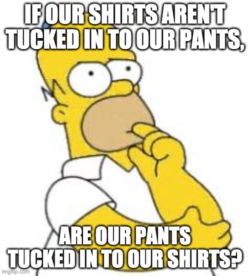 Homer Simpson Hmmmm |  IF OUR SHIRTS AREN'T TUCKED IN TO OUR PANTS, ARE OUR PANTS TUCKED IN TO OUR SHIRTS? | image tagged in homer simpson hmmmm | made w/ Imgflip meme maker