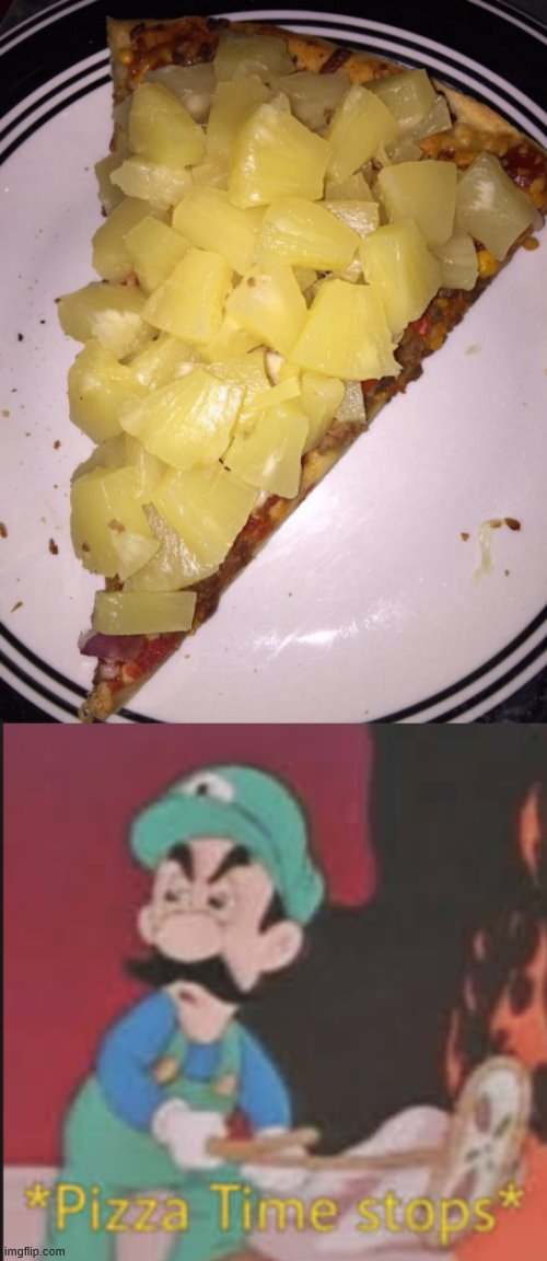Oh God Pineapple Pizza | image tagged in pizza time stops,pineapple pizza,pizza,why,why am i doing this,stop reading the tags | made w/ Imgflip meme maker