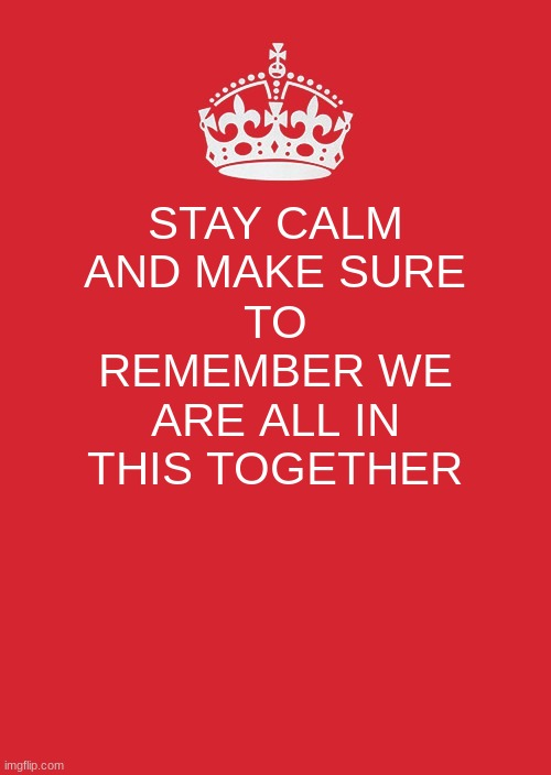 Keep Calm And Carry On Red |  STAY CALM AND MAKE SURE; TO REMEMBER WE ARE ALL IN THIS TOGETHER | image tagged in memes,keep calm and carry on red | made w/ Imgflip meme maker