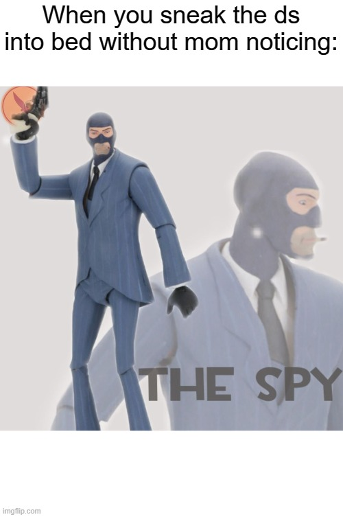 Meet The Spy |  When you sneak the ds into bed without mom noticing: | image tagged in meet the spy | made w/ Imgflip meme maker