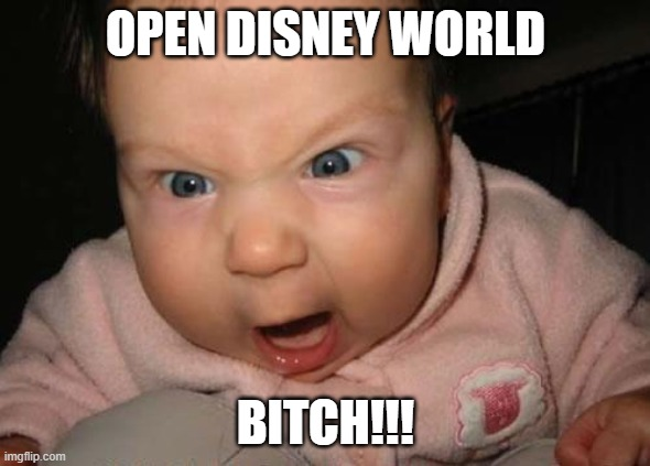 Evil Baby |  OPEN DISNEY WORLD; BITCH!!! | image tagged in memes,evil baby | made w/ Imgflip meme maker