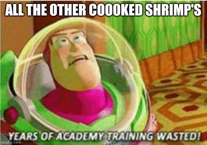 Years of Academy Training Wasted | ALL THE OTHER COOOKED SHRIMP'S | image tagged in years of academy training wasted | made w/ Imgflip meme maker