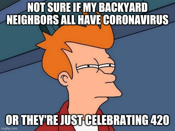 Not sure if- fry |  NOT SURE IF MY BACKYARD NEIGHBORS ALL HAVE CORONAVIRUS; OR THEY'RE JUST CELEBRATING 420 | image tagged in not sure if- fry,AdviceAnimals | made w/ Imgflip meme maker