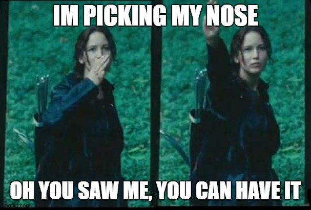 Katniss Respect |  IM PICKING MY NOSE; OH YOU SAW ME, YOU CAN HAVE IT | image tagged in katniss respect | made w/ Imgflip meme maker
