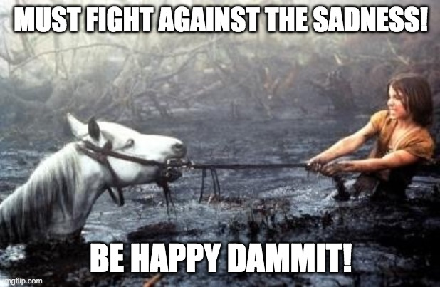 Artax Dies |  MUST FIGHT AGAINST THE SADNESS! BE HAPPY DAMMIT! | image tagged in artax dies | made w/ Imgflip meme maker