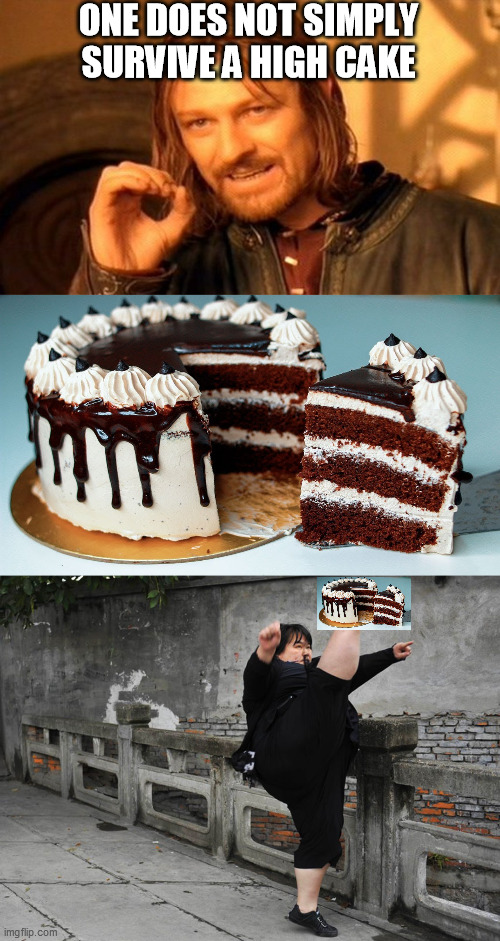 ONE DOES NOT SIMPLY SURVIVE A HIGH CAKE | image tagged in memes,one does not simply | made w/ Imgflip meme maker