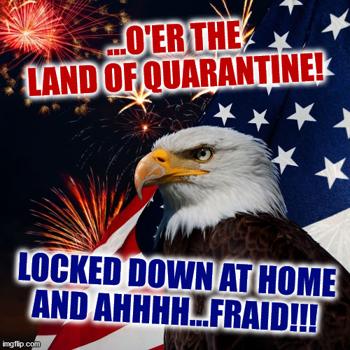 SARS Spangled B.S. |  ...O'ER THE LAND OF QUARANTINE! LOCKED DOWN AT HOME AND AHHHH...FRAID!!! | image tagged in memes,funny,'murica,hide the pain harold,coronavirus,new world order | made w/ Imgflip meme maker