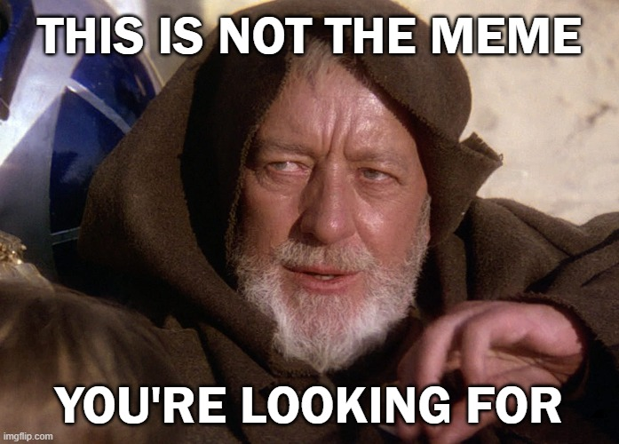 Not the meme you're looking for |  THIS IS NOT THE MEME; YOU'RE LOOKING FOR | image tagged in obi won not the droids,memes,star wars,obi wan kenobi,meme | made w/ Imgflip meme maker