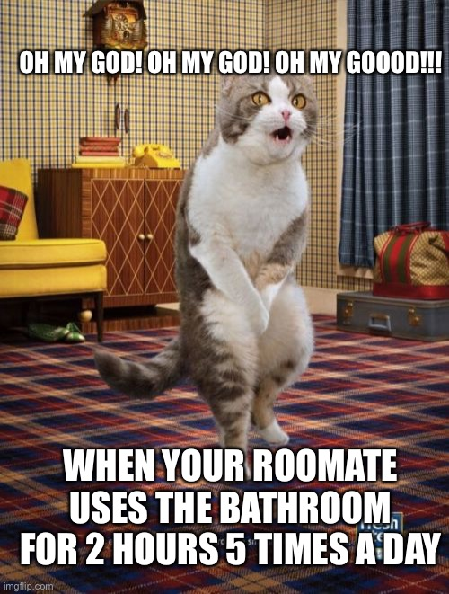 Gotta Go Cat |  OH MY GOD! OH MY GOD! OH MY GOOOD!!! WHEN YOUR ROOMATE USES THE BATHROOM FOR 2 HOURS 5 TIMES A DAY | image tagged in memes,gotta go cat | made w/ Imgflip meme maker