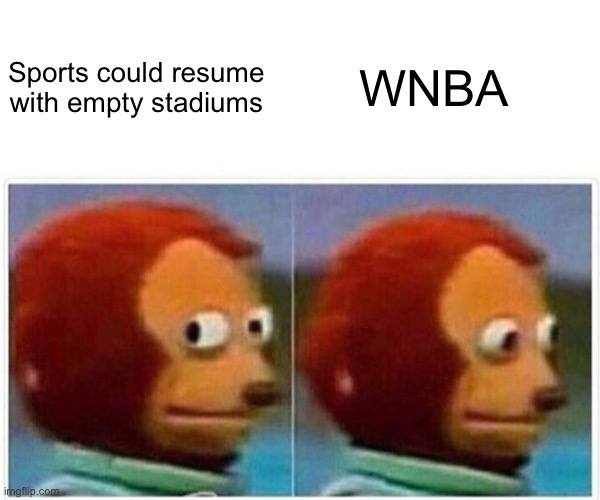 Monkey Puppet Meme |  WNBA; Sports could resume with empty stadiums | image tagged in memes,monkey puppet,wnba,sports | made w/ Imgflip meme maker