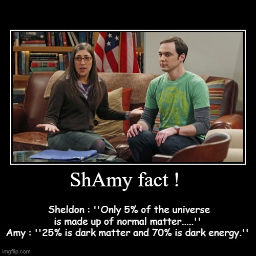 ShAmy fact ! | Sheldon : ''Only 5% of the universe is made up of normal matter.....'' Amy : ''25% is dark matter and 70% is dark energy.'' | image tagged in funny,demotivationals,sheldon cooper,the big bang theory | made w/ Imgflip demotivational maker