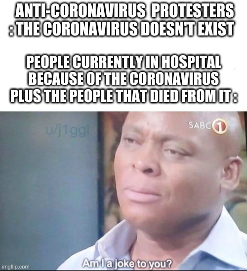 am I a joke to you |  ANTI-CORONAVIRUS  PROTESTERS : THE CORONAVIRUS DOESN'T EXIST; PEOPLE CURRENTLY IN HOSPITAL BECAUSE OF THE CORONAVIRUS PLUS THE PEOPLE THAT DIED FROM IT : | image tagged in am i a joke to you | made w/ Imgflip meme maker