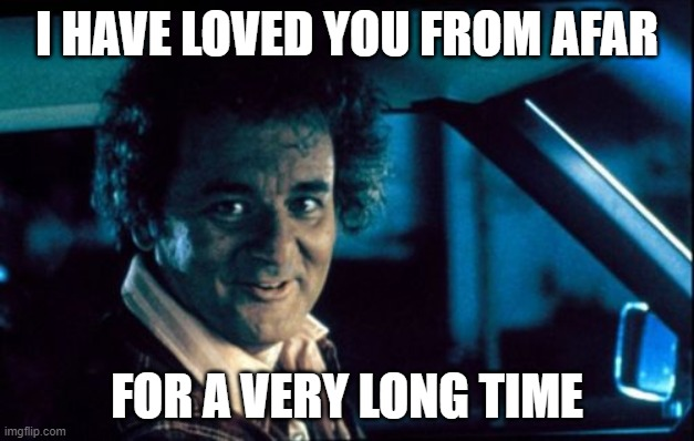 Legal Bill Murray |  I HAVE LOVED YOU FROM AFAR; FOR A VERY LONG TIME | image tagged in memes,legal bill murray | made w/ Imgflip meme maker