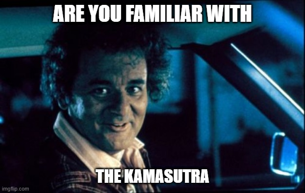 Legal Bill Murray |  ARE YOU FAMILIAR WITH; THE KAMASUTRA | image tagged in memes,legal bill murray | made w/ Imgflip meme maker