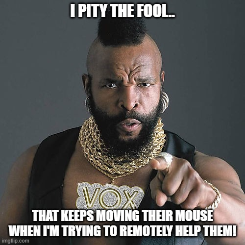 Every support team should have a Mr. T |  I PITY THE FOOL.. THAT KEEPS MOVING THEIR MOUSE WHEN I'M TRYING TO REMOTELY HELP THEM! | image tagged in memes,mr t pity the fool,it support meme,remote support meme,remote control meme | made w/ Imgflip meme maker