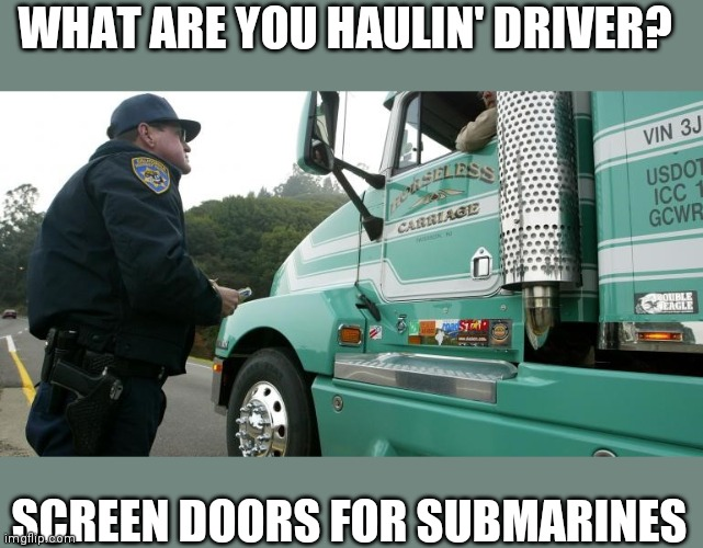 Trucker |  WHAT ARE YOU HAULIN' DRIVER? SCREEN DOORS FOR SUBMARINES | image tagged in trucker | made w/ Imgflip meme maker
