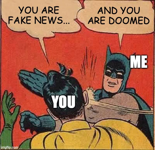 YOU ARE FAKE NEWS... AND YOU ARE DOOMED YOU ME | image tagged in memes,batman slapping robin | made w/ Imgflip meme maker