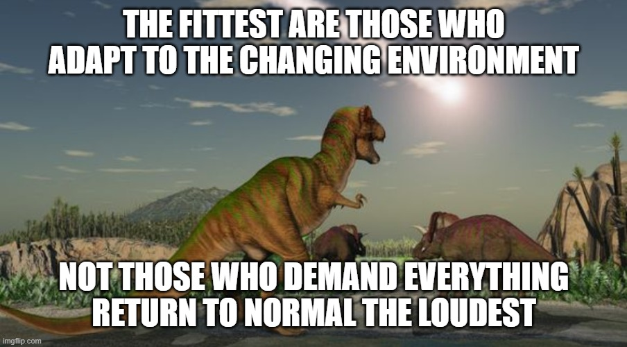Dinosaurs meteor |  THE FITTEST ARE THOSE WHO ADAPT TO THE CHANGING ENVIRONMENT; NOT THOSE WHO DEMAND EVERYTHING RETURN TO NORMAL THE LOUDEST | image tagged in dinosaurs meteor | made w/ Imgflip meme maker