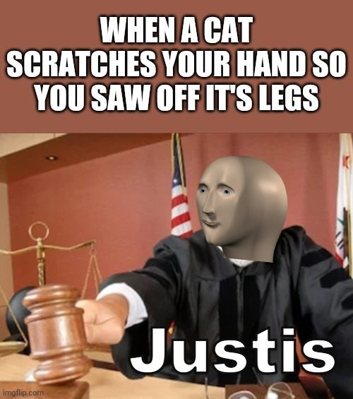 Justice! |  WHEN A CAT SCRATCHES YOUR HAND SO YOU SAW OFF IT'S LEGS | image tagged in meme man justis,justice,cat,saw,memes | made w/ Imgflip meme maker