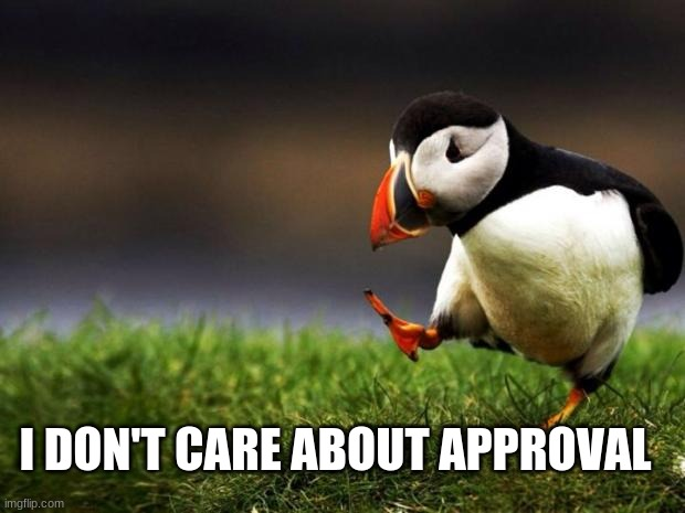 I DON'T CARE ABOUT APPROVAL | image tagged in memes,unpopular opinion puffin | made w/ Imgflip meme maker