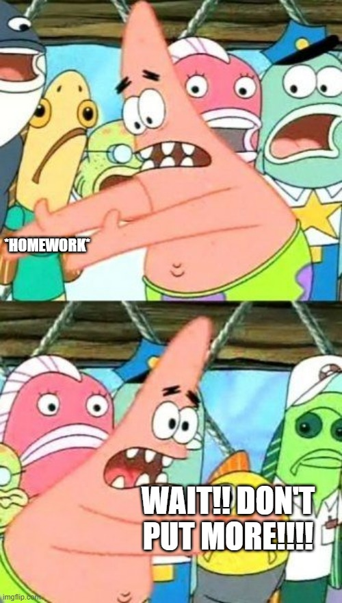 Put It Somewhere Else Patrick |  *HOMEWORK*; WAIT!! DON'T PUT MORE!!!! | image tagged in memes,put it somewhere else patrick | made w/ Imgflip meme maker