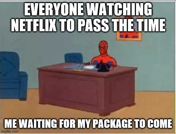 Waiting For My Package In The Coronavirus Pandemic |  EVERYONE WATCHING NETFLIX TO PASS THE TIME; ME WAITING FOR MY PACKAGE TO COME | image tagged in memes,spiderman computer desk,spiderman,coronavirus | made w/ Imgflip meme maker