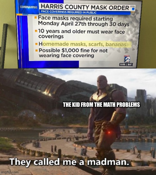Banana masks |  THE KID FROM THE MATH PROBLEMS | image tagged in thanos they called me a madman,thanos,math | made w/ Imgflip meme maker