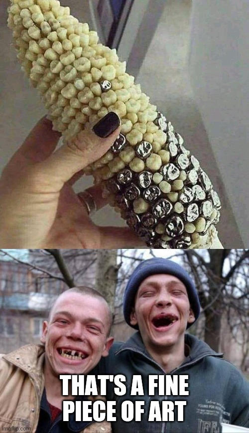 TEETH CORN |  THAT'S A FINE PIECE OF ART | image tagged in no teeth,memes,corn,teeth,wtf,hillbilly | made w/ Imgflip meme maker