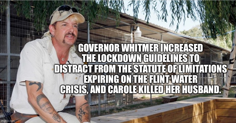 Tiger king, flint water |  GOVERNOR WHITMER INCREASED THE LOCKDOWN GUIDELINES TO DISTRACT FROM THE STATUTE OF LIMITATIONS EXPIRING ON THE FLINT WATER CRISIS, AND CAROLE KILLED HER HUSBAND. | image tagged in flint water,tiger king | made w/ Imgflip meme maker