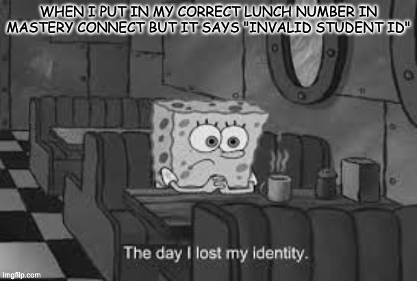 "My life on quarantine tests |  WHEN I PUT IN MY CORRECT LUNCH NUMBER IN MASTERY CONNECT BUT IT SAYS ""INVALID STUDENT ID"" 