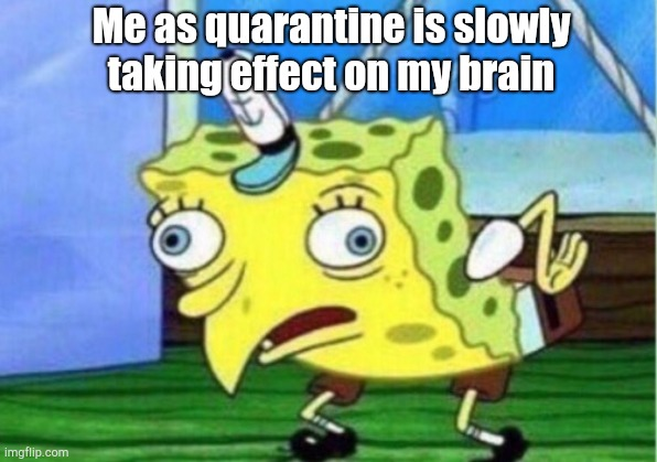 Mocking Spongebob |  Me as quarantine is slowly taking effect on my brain | image tagged in memes,mocking spongebob | made w/ Imgflip meme maker