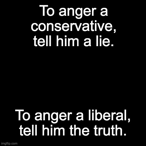 Try testing this out in real life. |  To anger a conservative, tell him a lie. To anger a liberal, tell him the truth. | image tagged in memes,politics | made w/ Imgflip meme maker