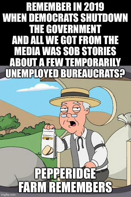 The whole country is shutdown and the Democrats eat it up.  Shutdown their precious government and they go crazy. |  REMEMBER IN 2019 WHEN DEMOCRATS SHUTDOWN THE GOVERNMENT AND ALL WE GOT FROM THE MEDIA WAS SOB STORIES ABOUT A FEW TEMPORARILY UNEMPLOYED BUREAUCRATS? PEPPERIDGE FARM REMEMBERS | image tagged in memes,pepperidge farm remembers,government shutdown,lockdown | made w/ Imgflip meme maker