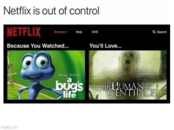 Netflix is out of control | image tagged in funny memes,memes,netfix | made w/ Imgflip meme maker