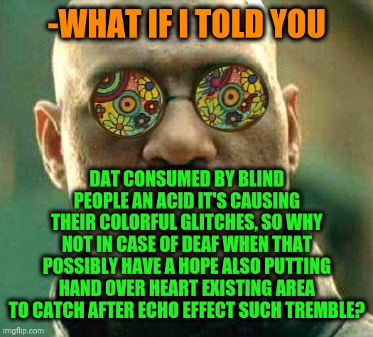 Lucid dream to end in length of tunnel. | -WHAT IF I TOLD YOU DAT CONSUMED BY BLIND PEOPLE AN ACID IT'S CAUSING THEIR COLORFUL GLITCHES, SO WHY NOT IN CASE OF DEAF WHEN THAT POSSIBLY | image tagged in lucid dream to end in length of tunnel | made w/ Imgflip meme maker