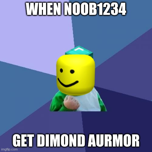 Success Kid |  WHEN NOOB1234; GET DIMOND AURMOR | image tagged in memes,success kid | made w/ Imgflip meme maker