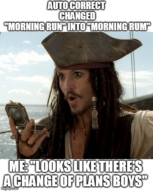 "HAVING A GOOD NIGHT TONIGHT |  AUTO CORRECT  CHANGED  ""MORNING RUN"" INTO ""MORNING RUM""; ME: ""LOOKS LIKE THERE'S A CHANGE OF PLANS BOYS"" 