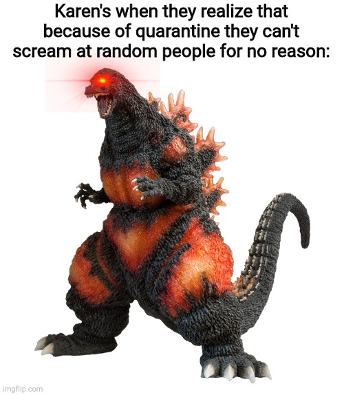 Transparent burning Godzilla |  Karen's when they realize that because of quarantine they can't scream at random people for no reason: | image tagged in transparent burning godzilla | made w/ Imgflip meme maker