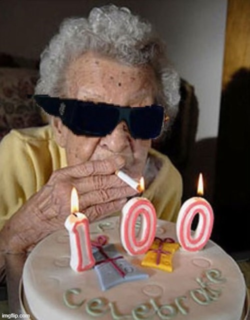 100 Year Old Lady Thug Life | image tagged in 100 year old lady thug life | made w/ Imgflip meme maker